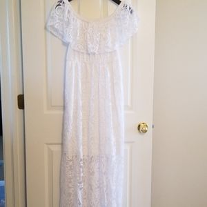 Soma Off-the-shoulder White Lace Dress